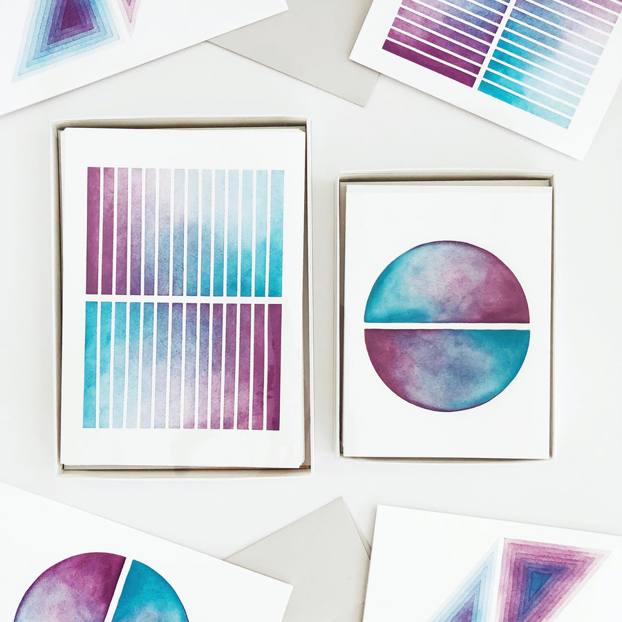 APS Gives Back Mirrors Geometric Watercolor Greeting Card Box Set