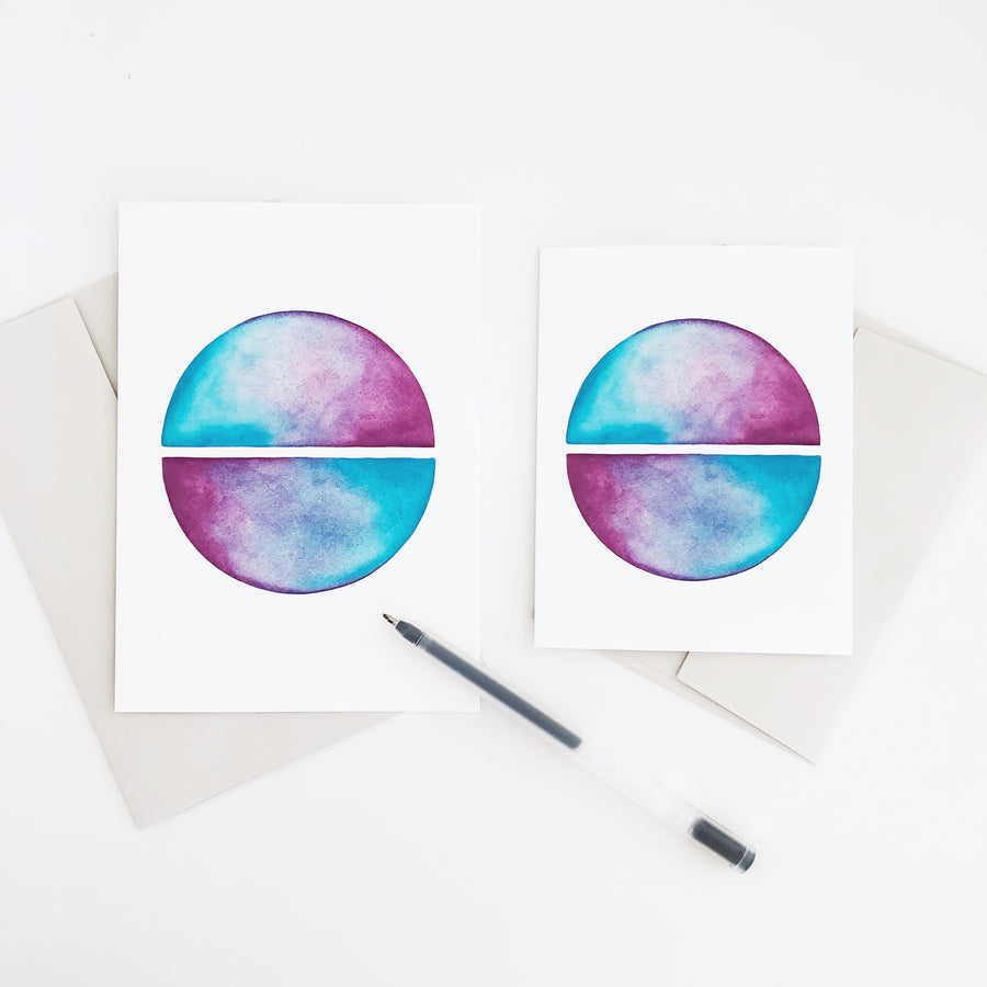 'Circle Mirror' Geometric Watercolor Greeting Card | APS Gives Back