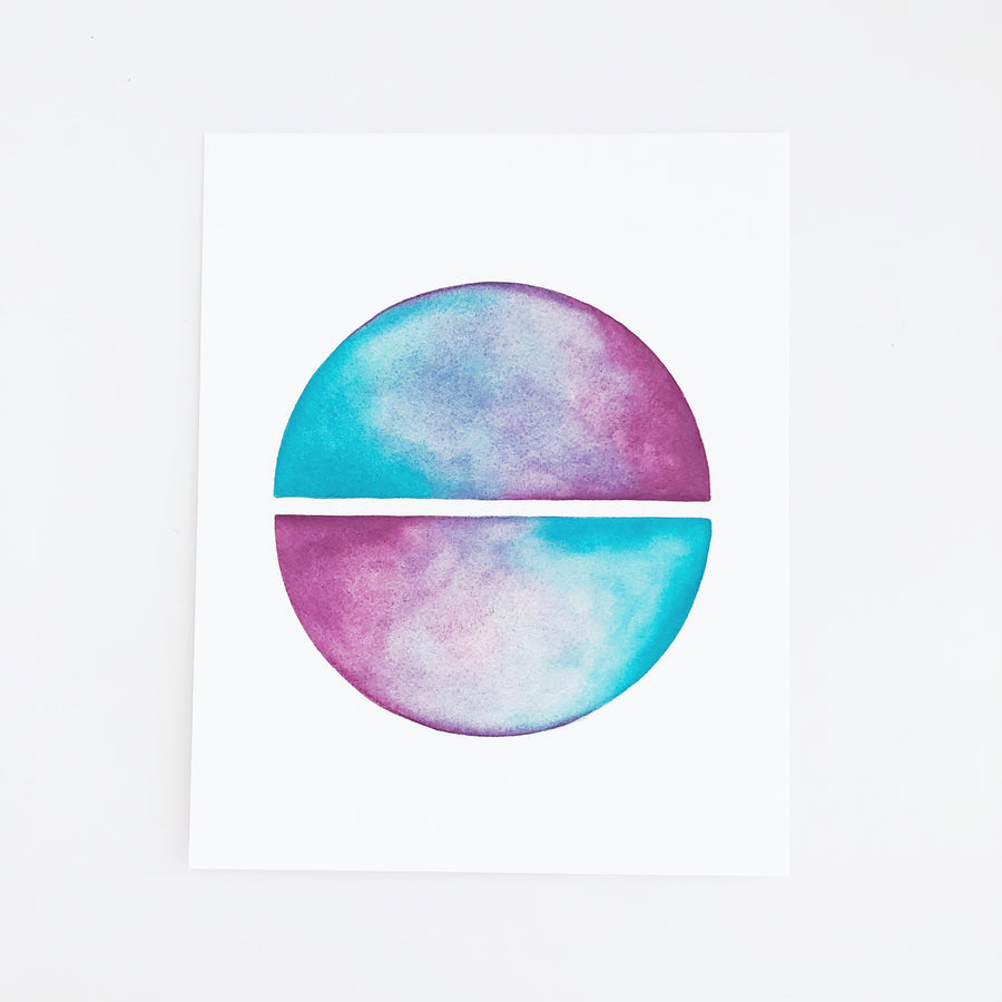 APS Gives Back Circle Mirror Geometric Watercolor Art Print