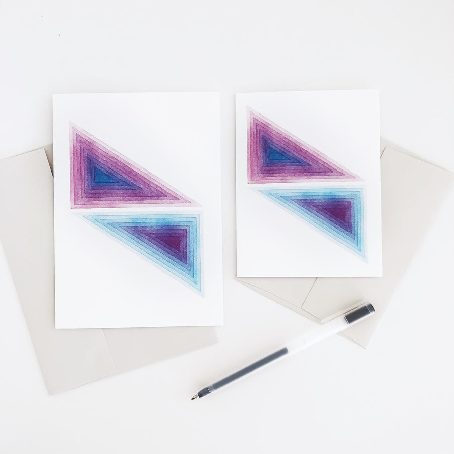 APS Gives Back Triangle Mirror Geometric Watercolor Greeting Card