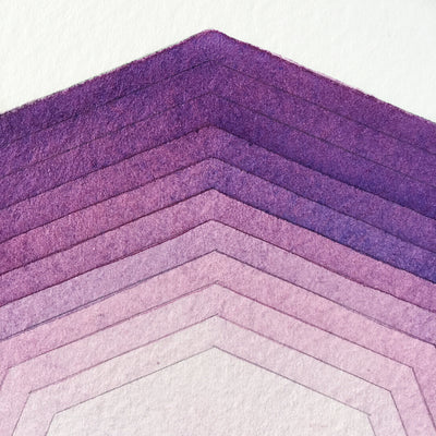 'Focus' watercolor geometric art close up