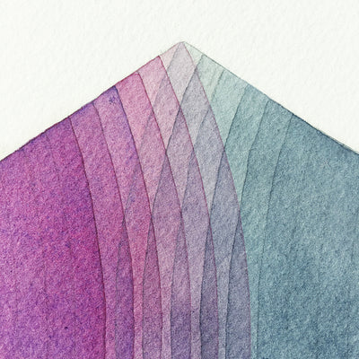 'Together' watercolor geometric art close up