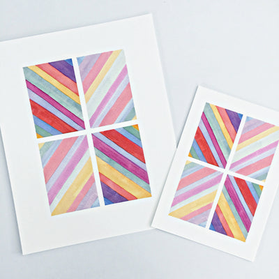 Day 43 / Geometric abstract watercolor print
