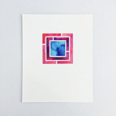 Day 90 / Geometric abstract watercolor print 8x10