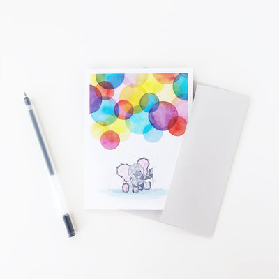 Eden's First Birthday baby elephant geometric watercolor greeting card A2 small