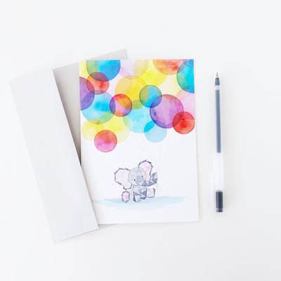 Eden's First Birthday baby elephant geometric watercolor greeting card A7 large