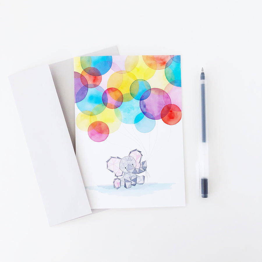 Eden's First Birthday baby elephant geometric watercolor greeting card