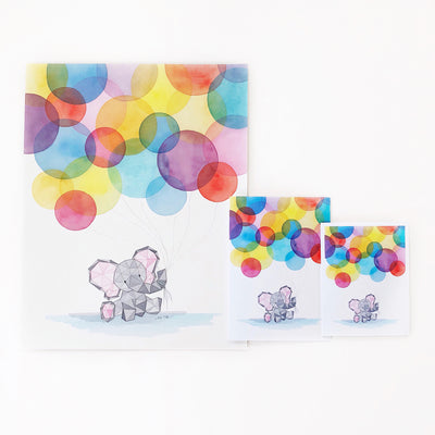 Eden's First Birthday baby elephant geometric watercolor 11x17 art print