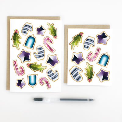 Cookie Party Holiday Geometric Watercolor Greeting Card