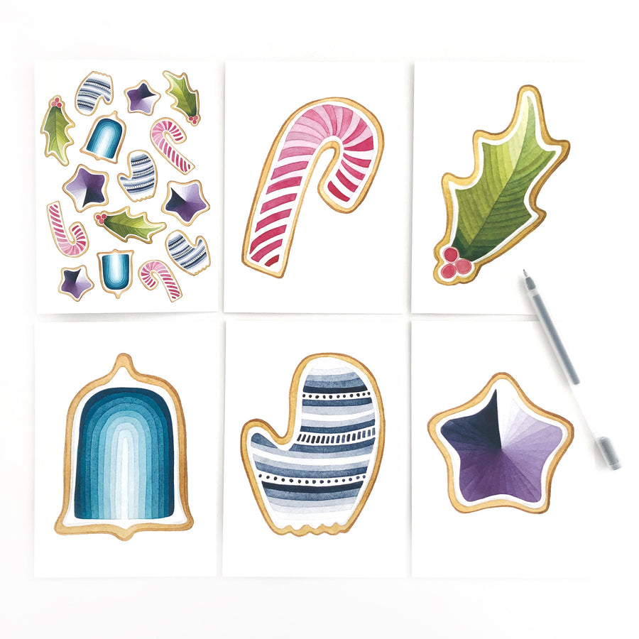 Holiday Cookies Geometric Watercolor Card Box Set (set of 12)
