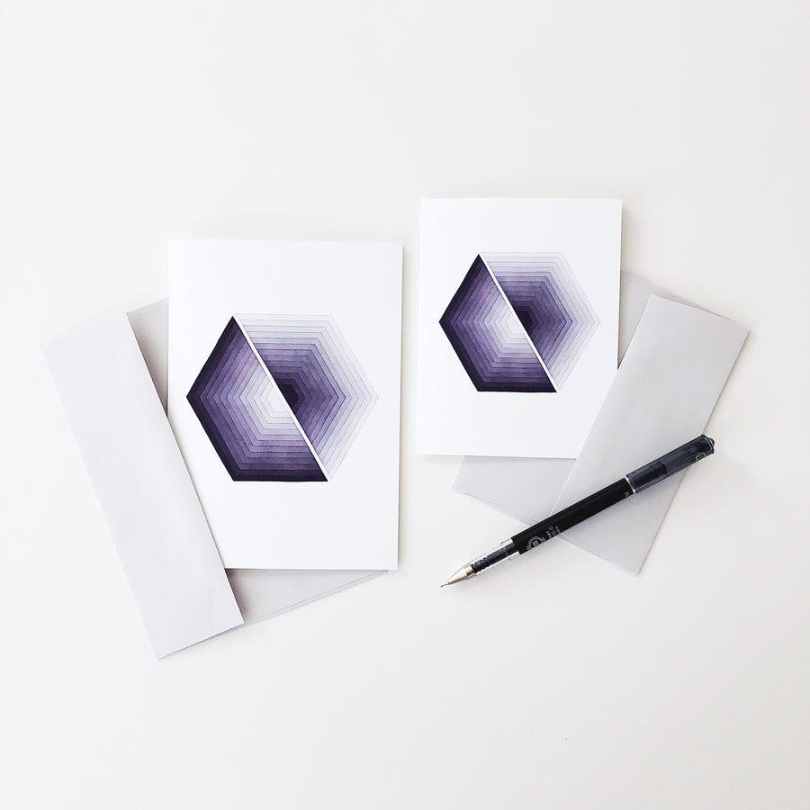 'Transformation 1' Geometric Watercolor Greeting Card, APS Gives Back
