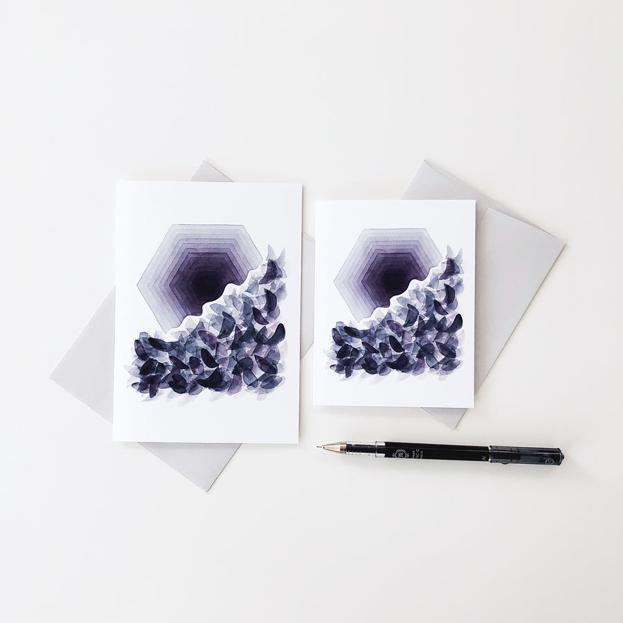 'Transformation 2' Geometric Watercolor Greeting Card, APS Gives Back