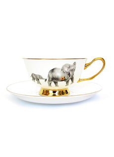 Golden Elephant Tea Cup & Saucer