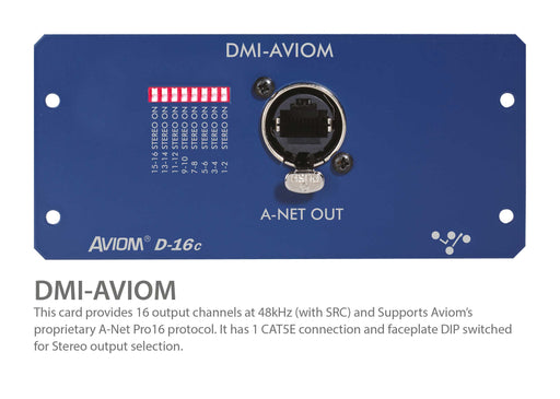 "Digico DMI AVIOM 16 Ch. Mono/8 Stereo D-16c A-NET ""V"" w/ SRC when in surface. (MOD-DMI-AVIOM)"