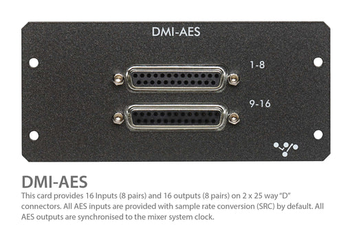 "Digico DMI AES I/O 16 Ch. In & Out 2 x 25-Way D-Type connector ""A"" card (MOD-DMI-AES)"