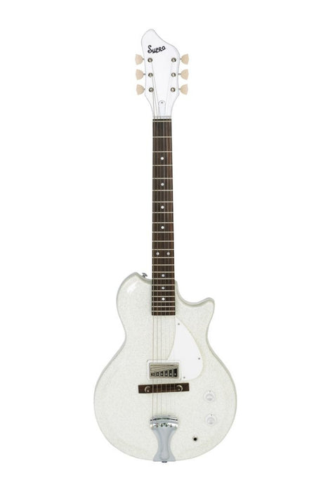 Supro 1572SW Belmont Semi‑Hollow Electric Guitar (Sparkle White)