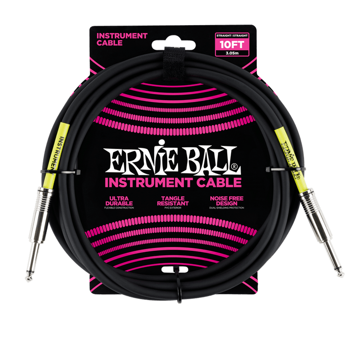 Ernie Ball Classic Guitar Instrument Cable Black (10') 6048