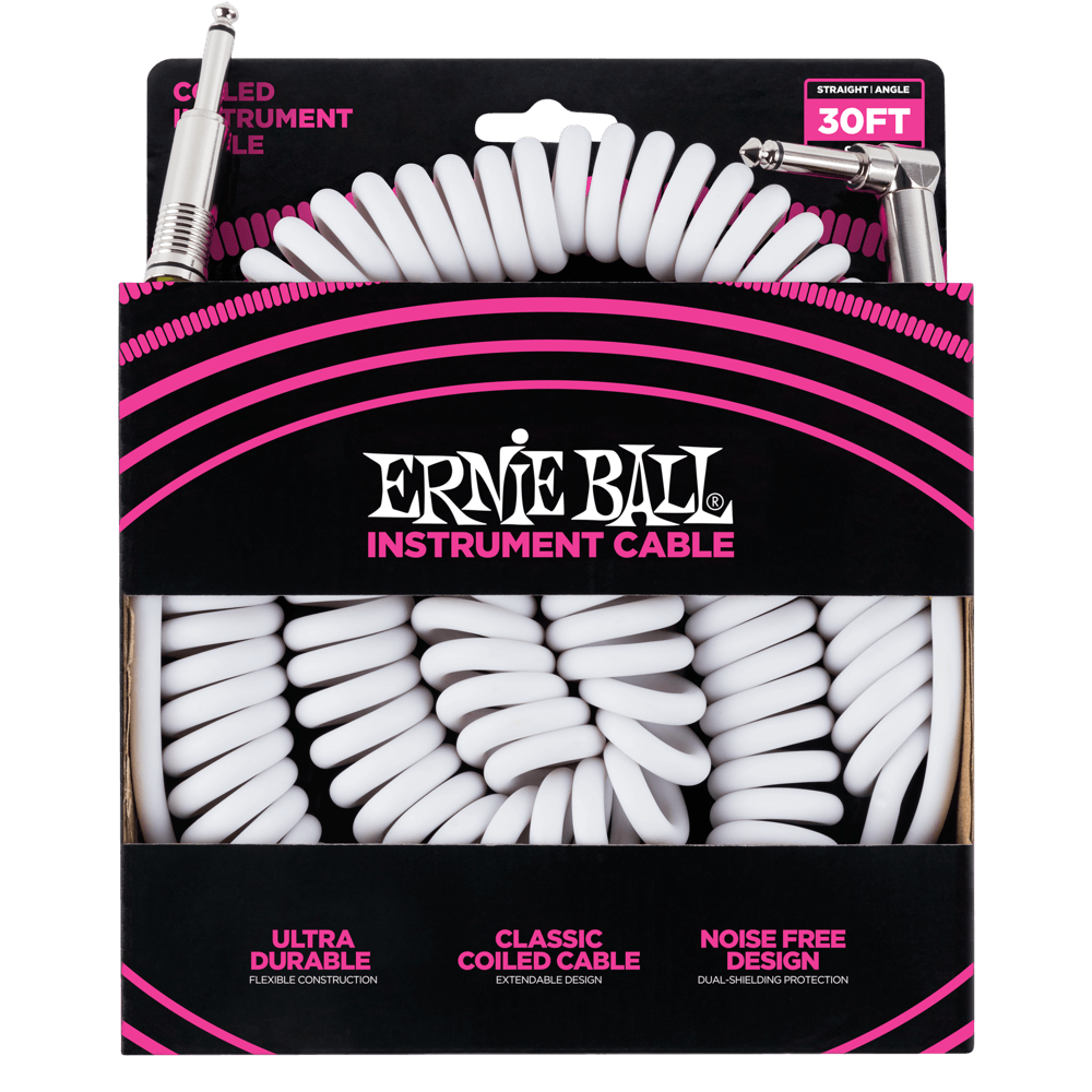 Ernie Ball Coiled Straight to Angle Instrument Cable White (30') 6045