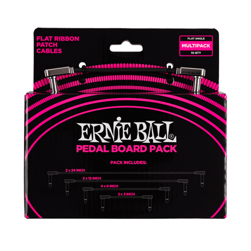 Ernie Ball Flat Ribbon Patch Cables Pedalboard Multi Pack Kit (6224)