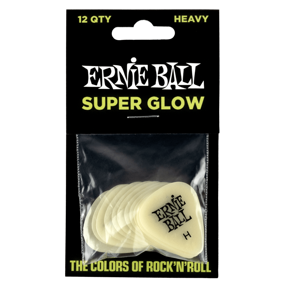 Ernie Ball Heavy Super Glow In The Dark Picks (Pack of 12) 9226
