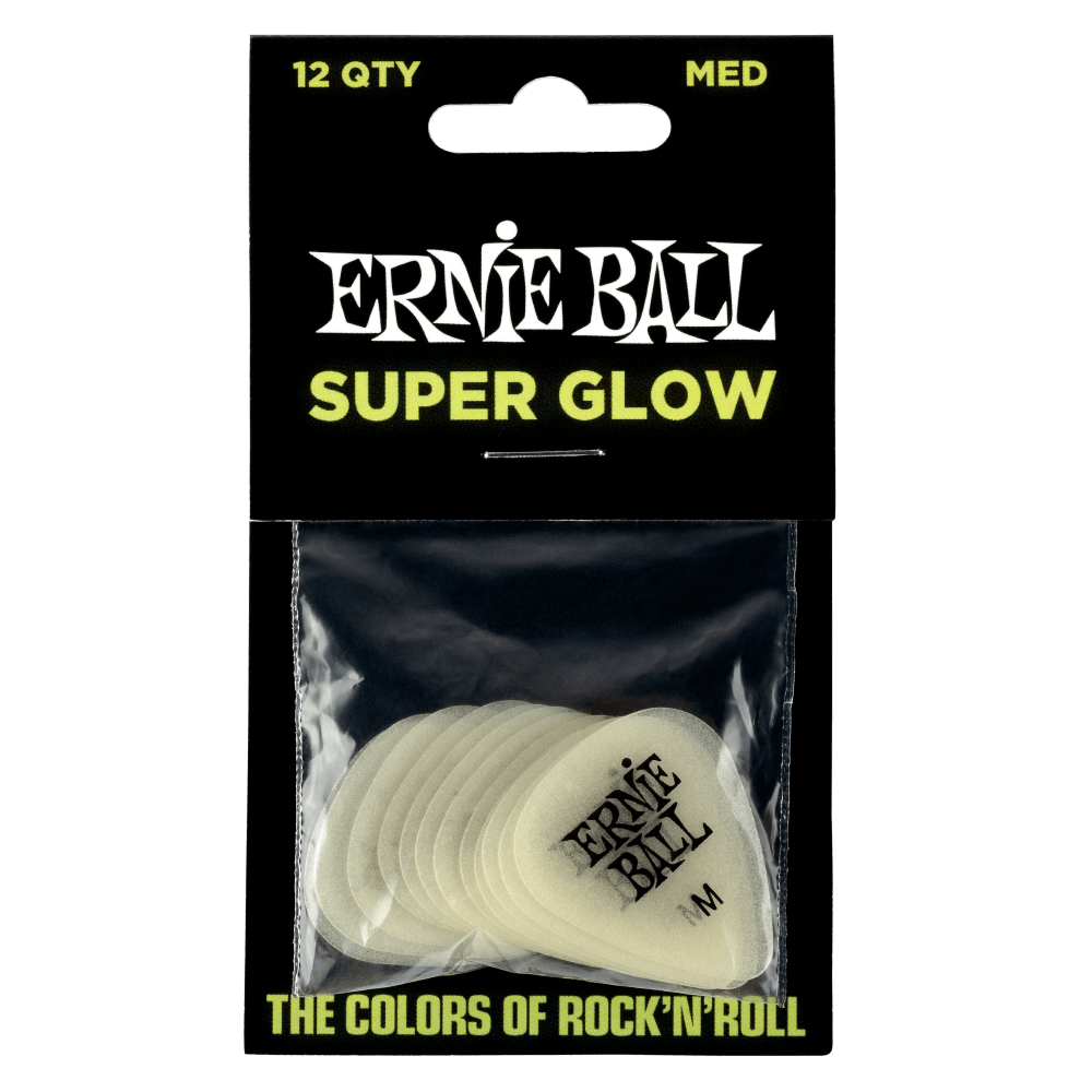 Ernie Ball Medium Super Glow In The Dark Picks (Pack of 12) 9225