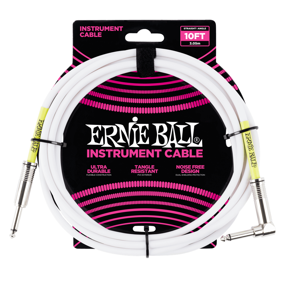 Ernie Ball Classic Guitar Instrument Cable White (10') 6049