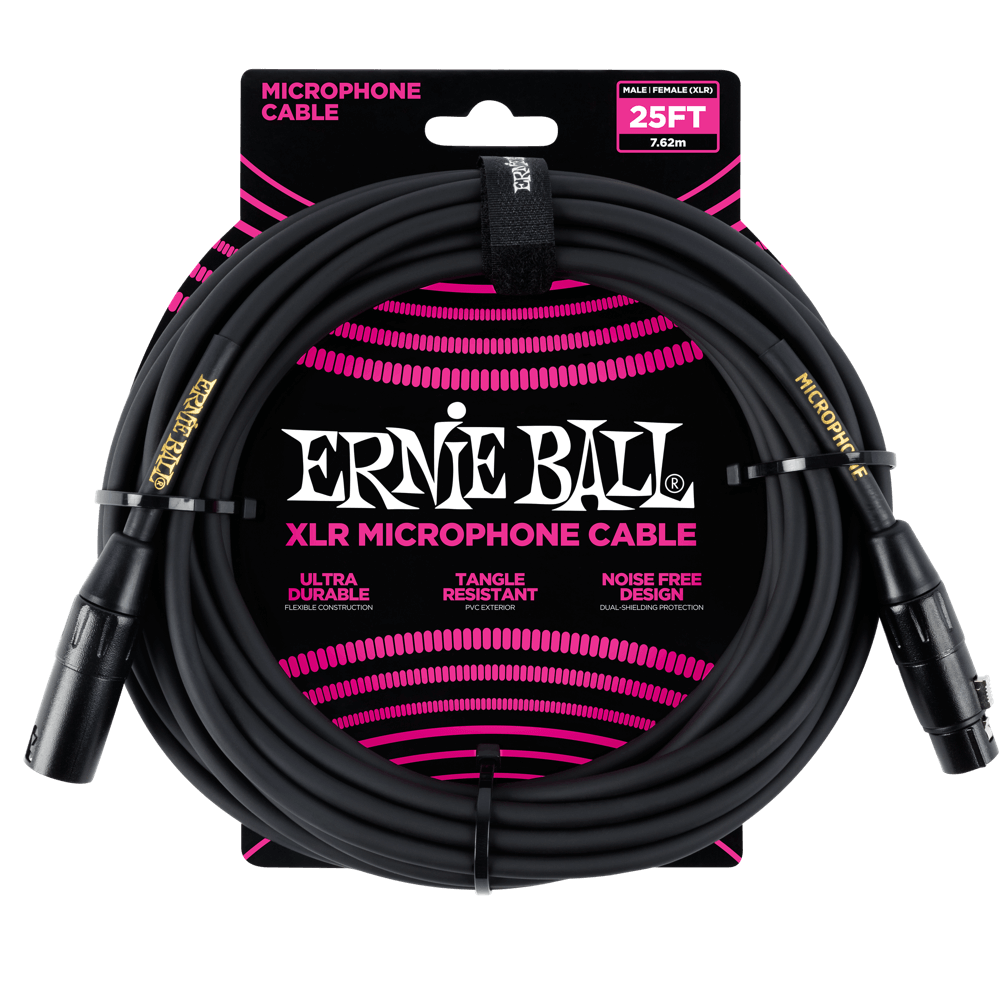 Ernie Ball XLR Male/Female Microphone Cable Black (25') 6073