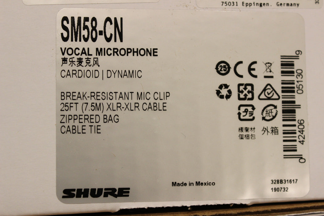 Shure SM58-CN Dynamic Vocal Microphone with Cable
