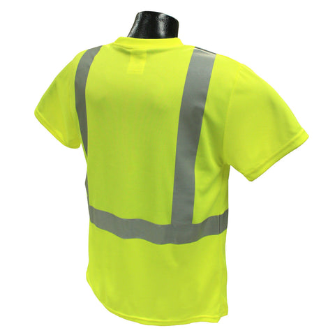Radians ST11-2POSYellow Safety Class 2 Hi-Viz T-Shirts W/Maxi-Dri Wicking Mesh
