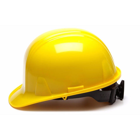 Pyramex Hard Hat YELLOW CAP STYLE With 4 Point Ratchet Suspension, HP14130