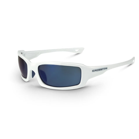 CROSSFIRE M6A Premium Safety Glasses White Frames Blue Mirror Lens 20278