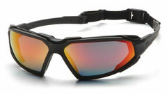Pyramex Highlander Black Frame Sky Red Mirror Anti Fog Safety Glasses SBB5055DT - US Safety Supplies