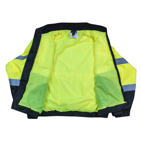 Radians SJ210B Reflective Safety Bomber Jacket with Fleece Liner, Hi-Vis Green