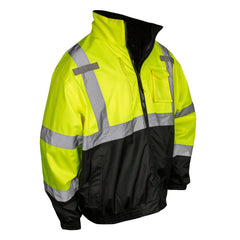 Radians SJ210B Reflective Safety Bomber Jacket with Fleece Liner, Hi-Vis Green - US Safety Supplies