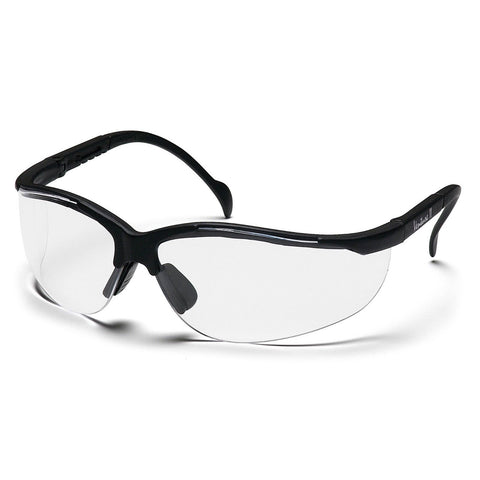 PYRAMEX SAFETY SB1810S Venture II Safety Glasses Clear Lens, Black Frames