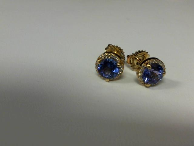 LADIES TANZANITE & DIAMOND EARRINGS