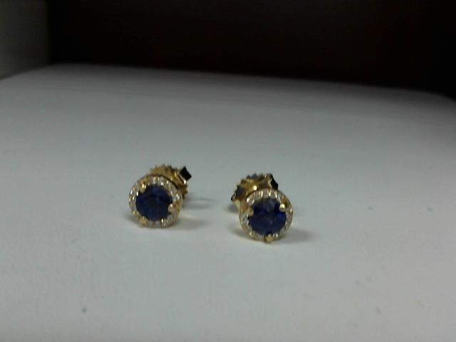 LADIES YELLOW GOLD SAPPHIRE & DIAMOND EARRING