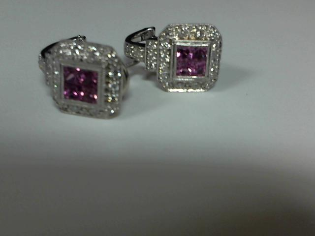 LADIES PINK PRINCES CUT SAPPHIRE & DIAMOND EARRING