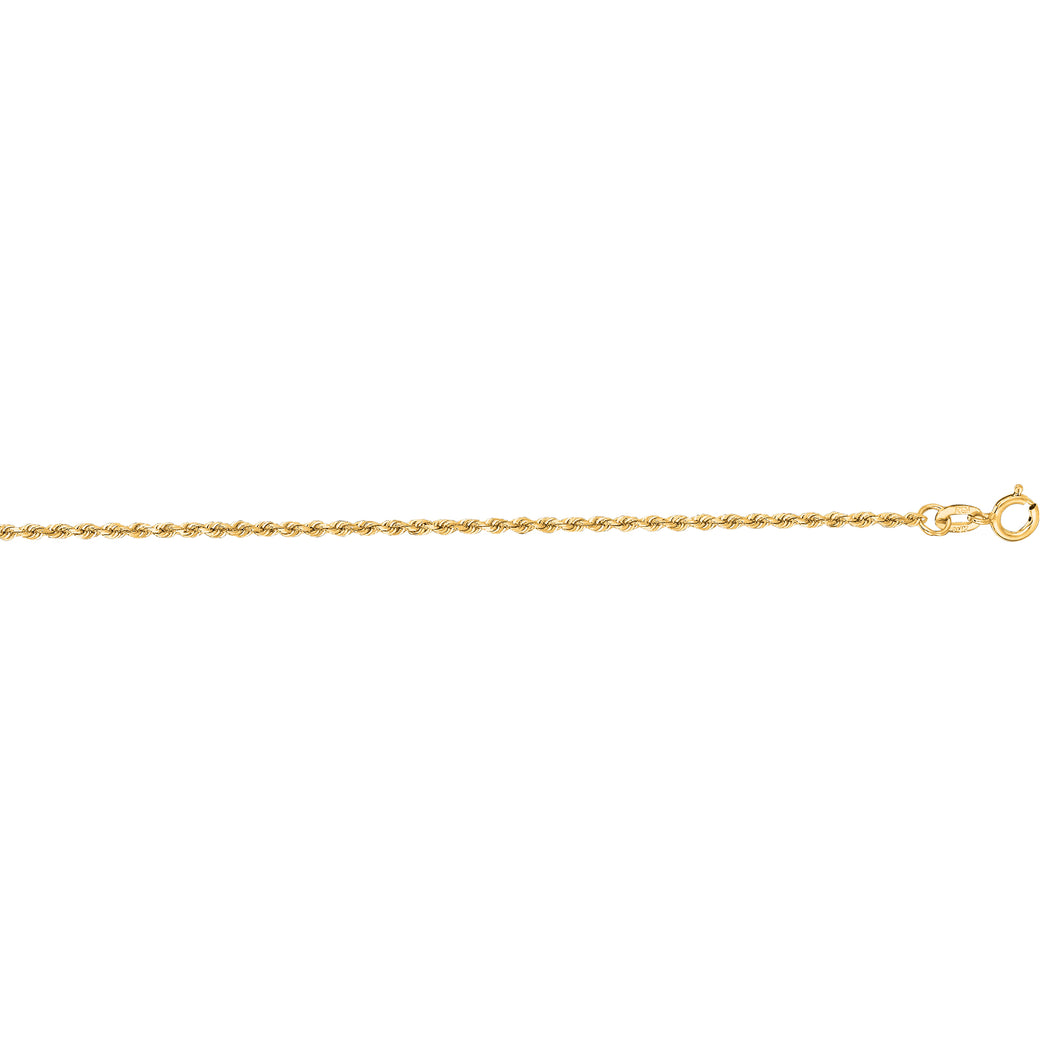 10K Gold 1.25mm Diamond Cut Solid Royal Rope Chain