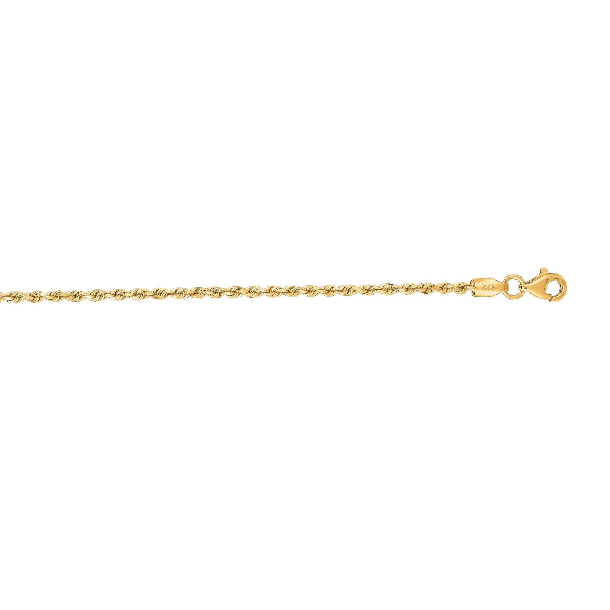10K Gold 2.0mm Solid Diamond Cut Royal Rope Chain