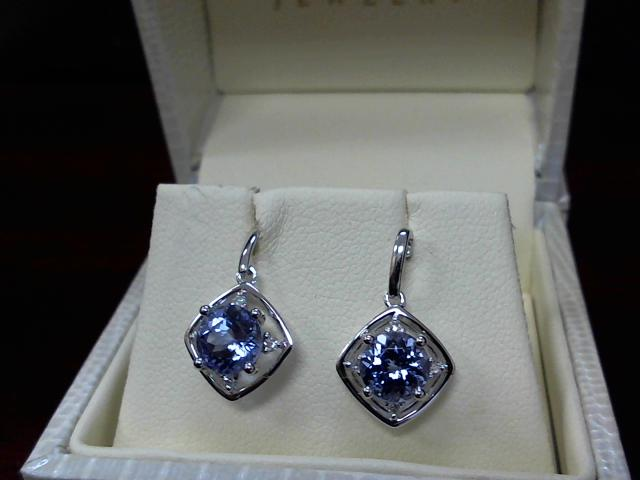 LADIES TANZANITE & DIAMOND EARRING