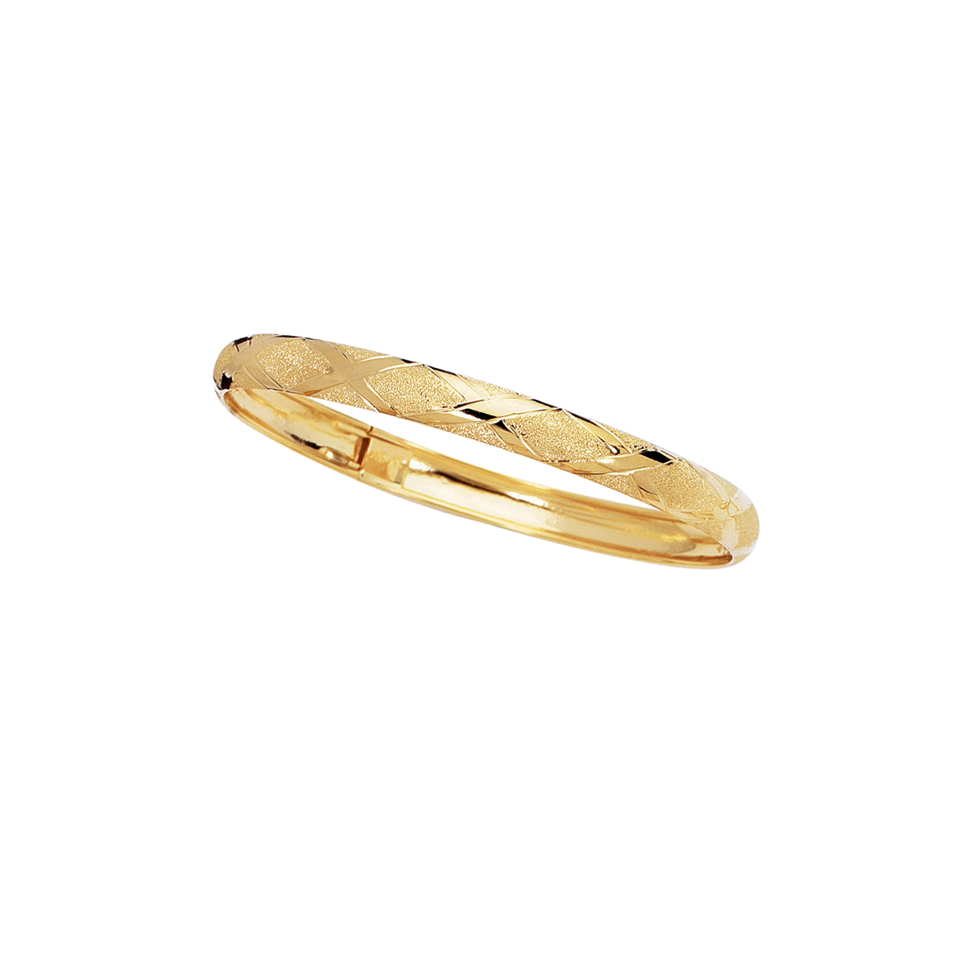 10K Gold 6mm Polished & Diamond Cut Bangle