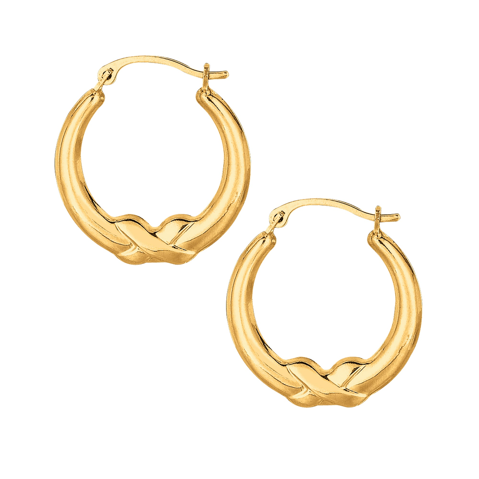 10K Gold Polished X Detail Hoop Earring