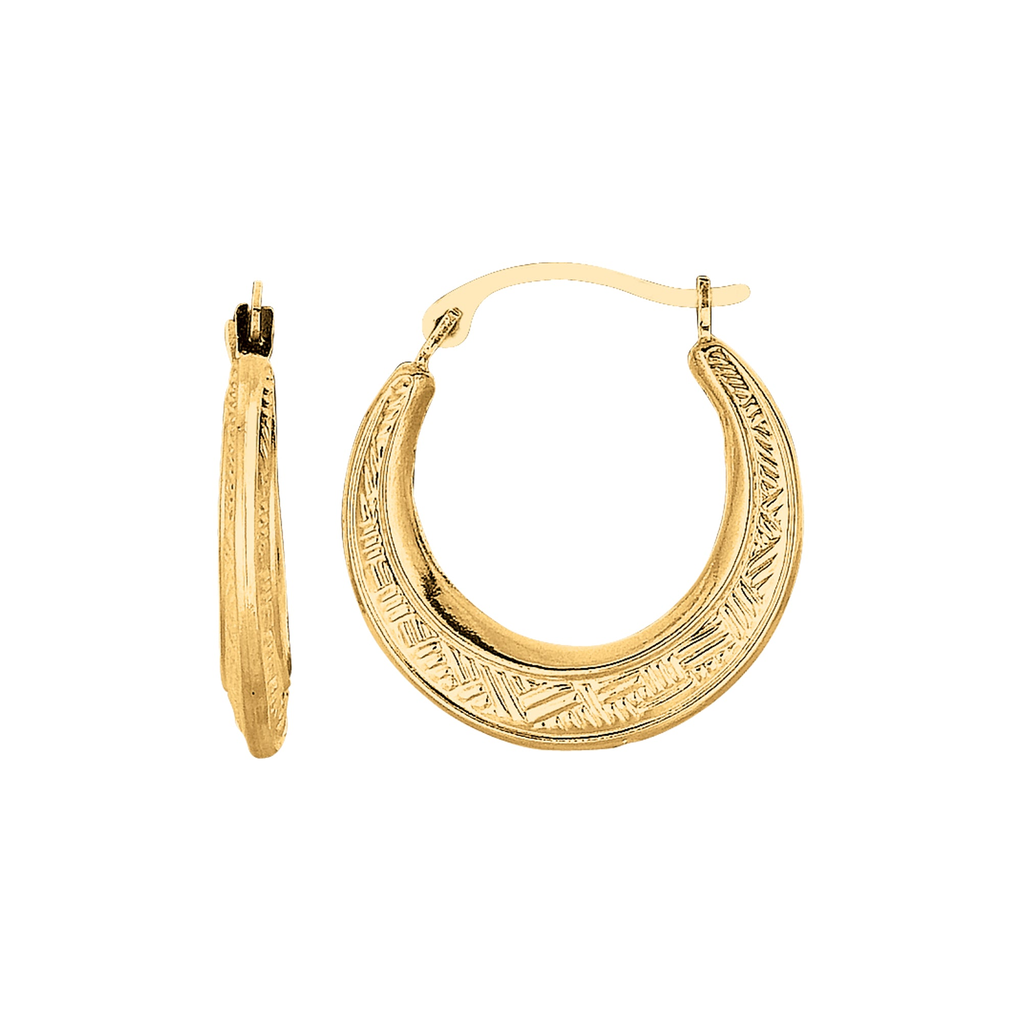 10K Gold Diamond Cut Etched Pattern Hoop Earring