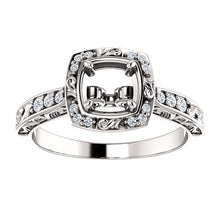 Load image into Gallery viewer, 14K White 1/10 CTW Diamond Semi-Set Engagement Ring* Quote does not include cost of center stone. *Prices are based on a standard melee diamond quality SI2-SI3, G-H. Exact pricing may be subject to change based on size, please contact an Ever&Ever re