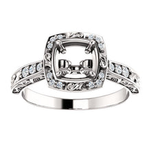 Load image into Gallery viewer, 14K White 5x5 mm Square 1/10 CTW Diamond Semi-Set Engagement Ring* Quote does not include cost of center stone. *Prices are based on a standard melee diamond quality SI2-SI3, G-H. Exact pricing may be subject to change based on size, please contact a