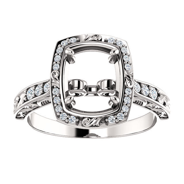 14K White 1/8 CTW Diamond Semi-Set Engagement Ring* Quote does not include cost of center stone. *Prices are based on a standard melee diamond quality SI2-SI3, G-H. Exact pricing may be subject to change based on size, please contact an Ever&Ever ret