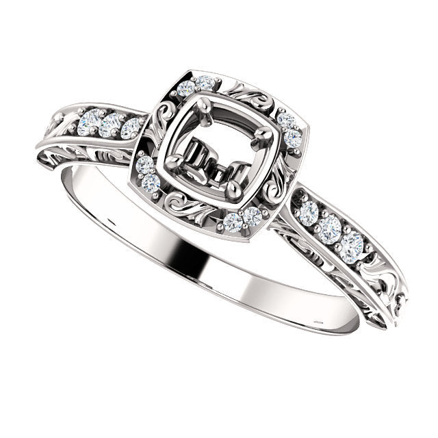14K White 4.1 mm Round 1/10 CTW Diamond Semi-Set Engagement Ring* Quote does not include cost of center stone. *Prices are based on a standard melee diamond quality SI2-SI3, G-H. Exact pricing may be subject to change based on size, please contact an