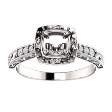 Load image into Gallery viewer, 14K White 5.2 mm Round 1/10 CTW Diamond Semi-Set Engagement Ring* Quote does not include cost of center stone. *Prices are based on a standard melee diamond quality SI2-SI3, G-H. Exact pricing may be subject to change based on size, please contact an