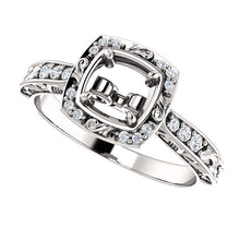 Load image into Gallery viewer, 14K White 5.8 mm Round 1/10 CTW Diamond Semi-Set Engagement Ring* Quote does not include cost of center stone. *Prices are based on a standard melee diamond quality SI2-SI3, G-H. Exact pricing may be subject to change based on size, please contact an